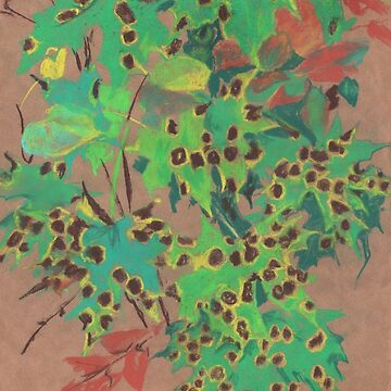 Dotty leaves, floral art,  autumn foliage, maple leaf by clipsocallipso