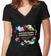 ADVERTISING CONSULTANT Women's Fitted V-Neck T-Shirt