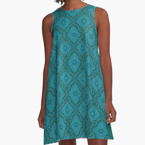 Turquoise Teal Flowers Floral Bohemian Arabesque Pattern A-Line Dress