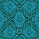 Turquoise Teal Flowers Floral Bohemian Arabesque Pattern by clipsocallipso