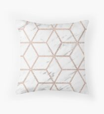 Olympia rose marble geometry Throw Pillow
