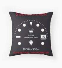 Submariner Chronometer Diver Watch Vintage Art Throw Pillow
