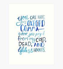 Oxford Comma Grammar Joke Blue Watercolour Typography Art Print