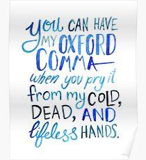 Oxford Komma-Grammatik-Witz blaue Aquarell-Typografie Poster