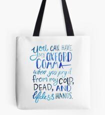 Oxford Comma Grammar Joke Blue Watercolour Typography Tote Bag