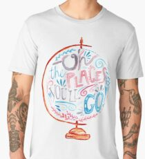 Oh The Places You'll Go - Typography Vintage Globe in Pink Blue Grey Men's Premium T-Shirt