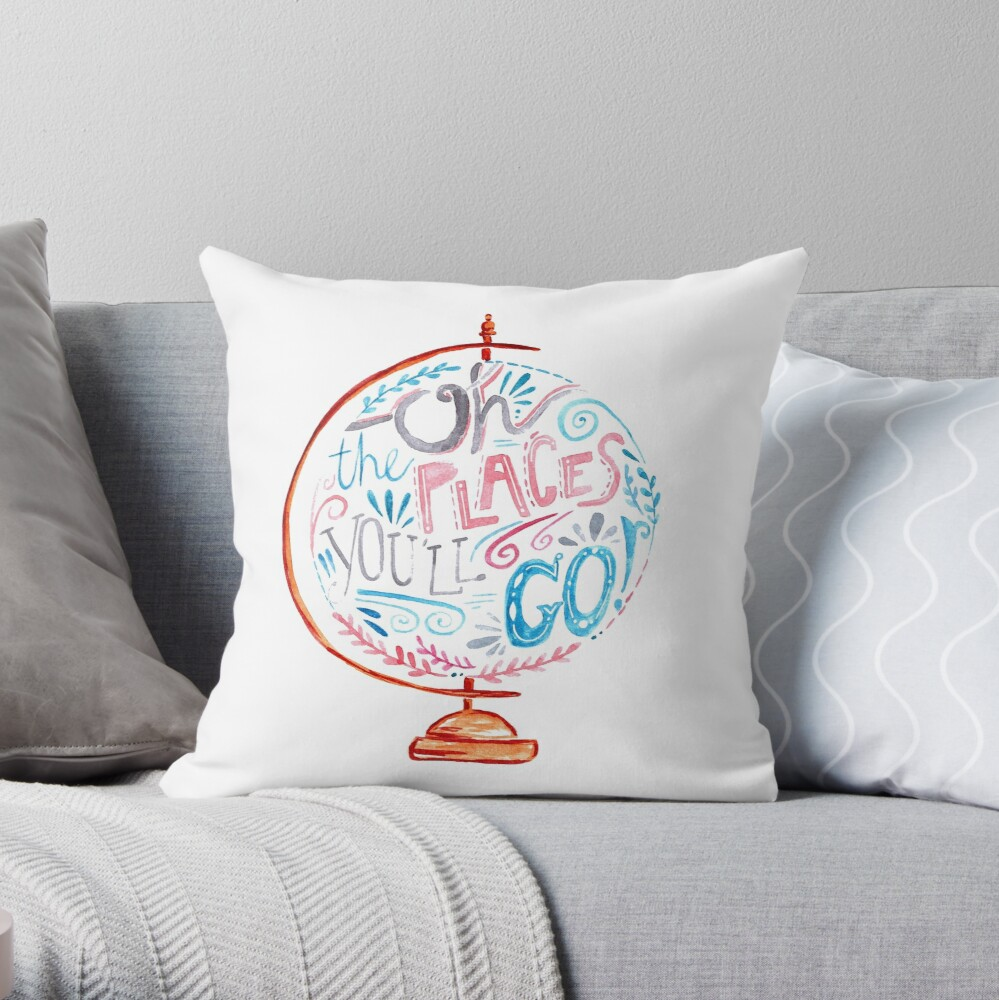 Oh The Places You'll Go - Typography Vintage Globe in Pink Blue Grey Throw Pillow
