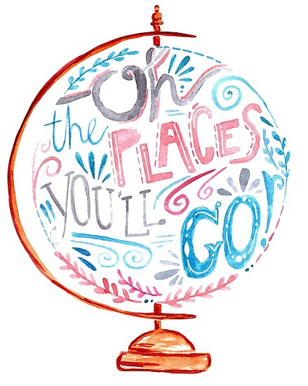 Oh The Places You'll Go - Typography Vintage Globe in Pink Blue Grey by Kit Cronk