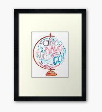 Oh The Places You'll Go - Typography Vintage Globe in Pink Blue Grey Framed Print