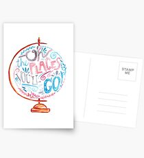 Oh The Places You'll Go - Typography Vintage Globe in Pink Blue Grey Postcards