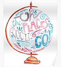 Oh The Places You'll Go - Typography Vintage Globe in Pink Blue Grey Poster