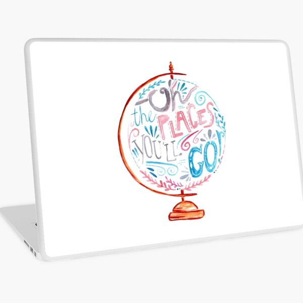 Oh The Places You'll Go - Typography Vintage Globe in Pink Blue Grey Laptop Skin