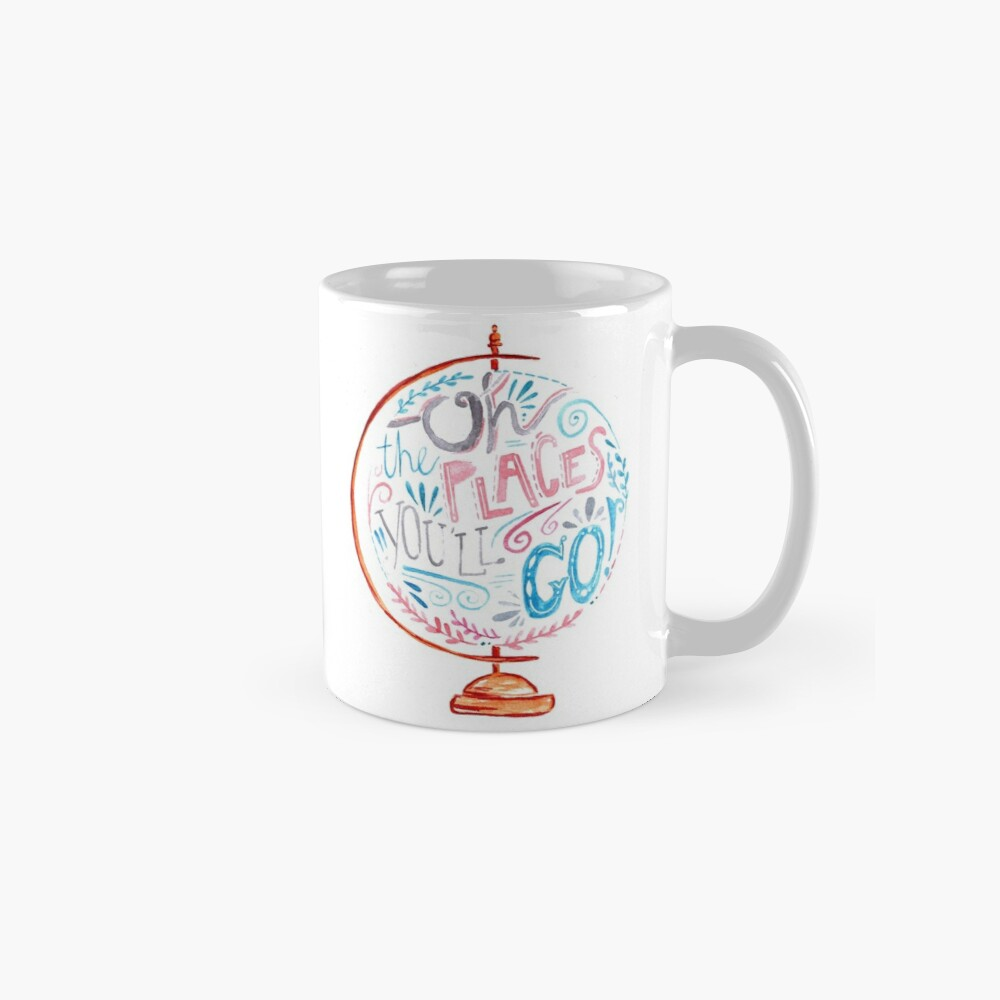 Oh The Places You'll Go - Typography Vintage Globe in Pink Blue Grey Mugs