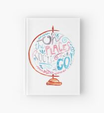 Oh The Places You'll Go - Typography Vintage Globe in Pink Blue Grey Hardcover Journal