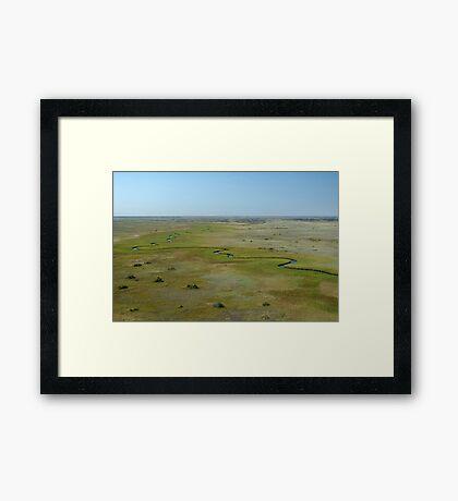 Okavango Delta aerial view Framed Print