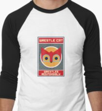Wrestle Cat wrestles responsibly Men's Baseball ¾ T-Shirt