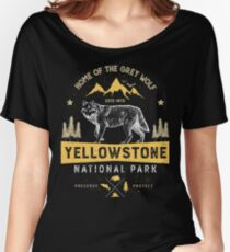 Yellowstone National Park Grey Wolf T shirt - Vintage Women's Relaxed Fit T-Shirt