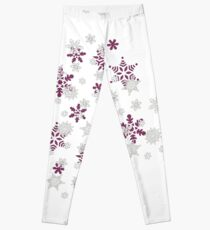 Heart Filled With Pink And White Snowflakes  Leggings