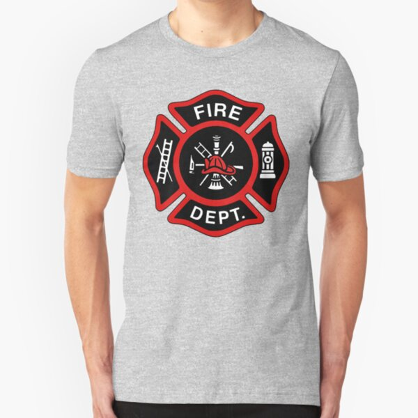 Red Fire Department Badge Slim Fit T-Shirt