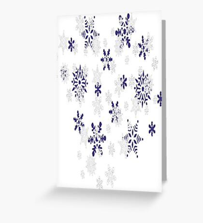 Heart Filled With Blue And White Snowflakes Greeting Card