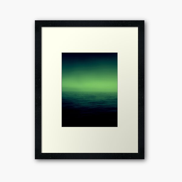 Ocean ombre in green Framed Art Print
