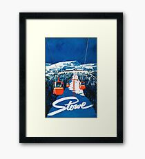 Stowe vertmont vintage sking ski travel poster sticker Framed Print