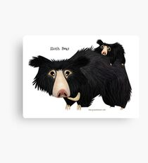 Sloth Bear mother with cub Canvas Print