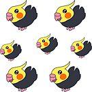 Cockatiel Chibi Stickers by Genchaii