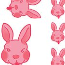 Pink Rabbit Tongue Stickers by Genchaii