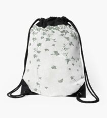 Gray Green Trailing Ivy Leaf Print Drawstring Bag