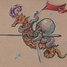 Octopus Knight with Seahorse Steed by justteejay