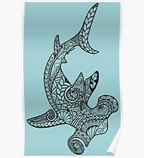 Tribal Polynesian Hammerhead Shark Poster