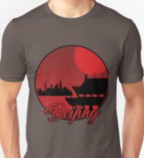 Beijing Red Night Landscape Silhouettes T-Shirt