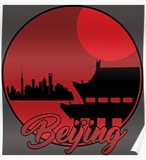 Beijing Red Night Landscape Silhouettes Poster