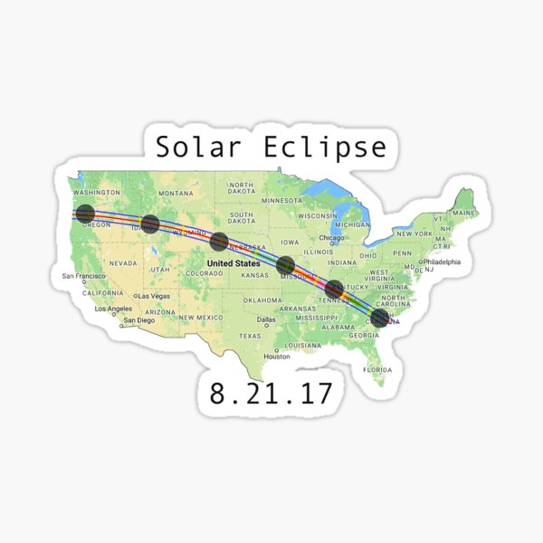 Solar Eclipse Totality Map Sticker