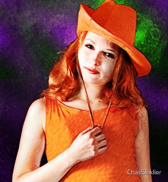 Portrait des Mädchens im orange Hut von ChasSinklier