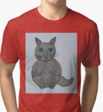 cats cartoon graphic color  Tri-blend T-Shirt