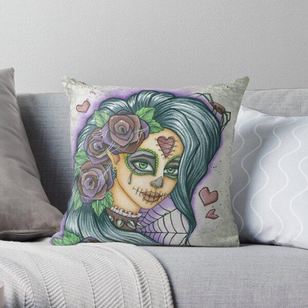 Sugar Skull Spider Face Throw Pillow