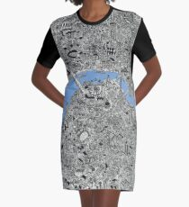 London Map Drawing Graphic T-Shirt Dress