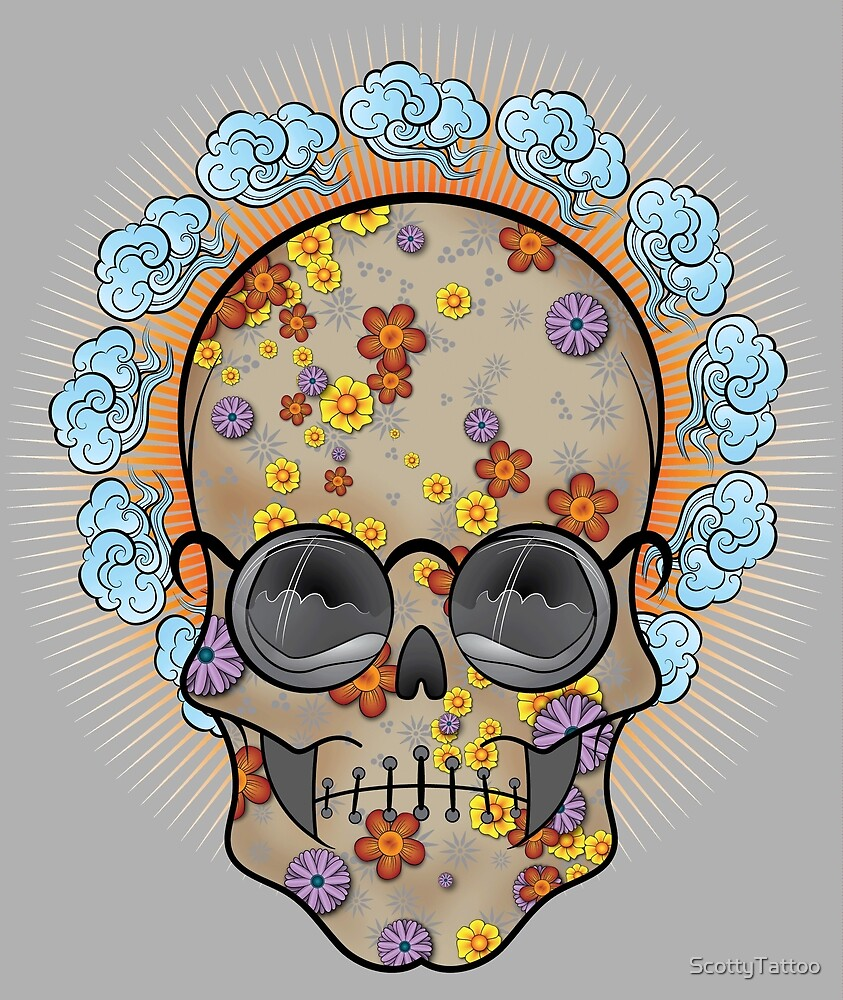 Flower Power (Skull Dude) by ScottyTattoo