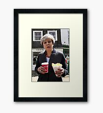 Theresa May - Coffee and Chips in Cornwall Framed Print