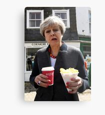 Theresa May - Coffee and Chips in Cornwall Metal Print