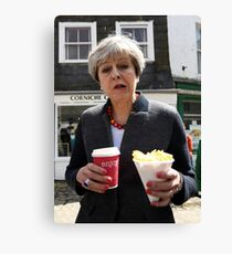 Theresa May - Coffee and Chips in Cornwall Canvas Print