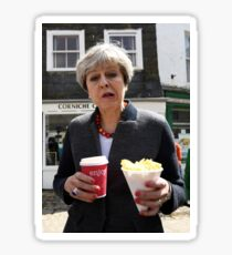 Theresa May - Coffee and Chips in Cornwall Sticker