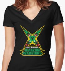 Guyana Amazon Warriors Cricket CPL T-shirt Women's Fitted V-Neck T-Shirt