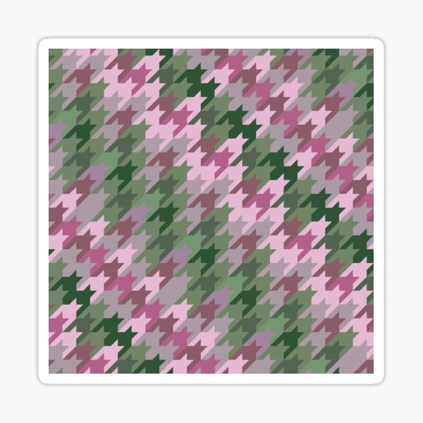 Houndstooth: Pink and Green Sticker