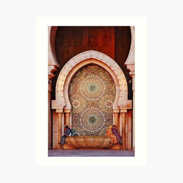 Fountain, Hassam II Mosque Casablanca Art Print