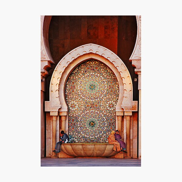 Fountain, Hassam II Mosque Casablanca Photographic Print