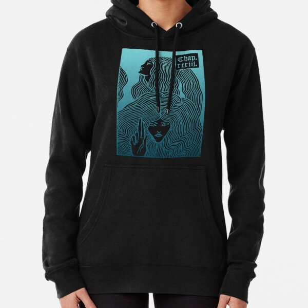 Beardsley Blue Art Nouveau - Two Women with Long Hair Gradient Blue Pullover Hoodie