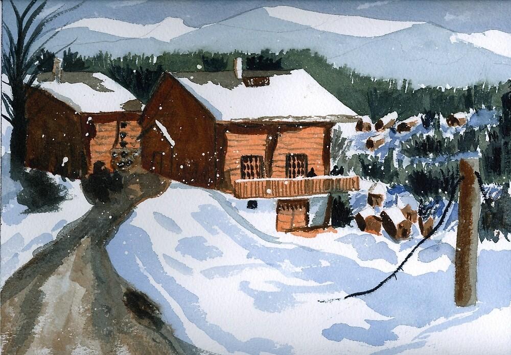 Snowed In Watercolor by AngelaBishop